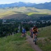 Mountain Bikers on Mount Sentinel above Missoula, Montana